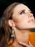 Glamorous woman  with makeup  looking up. Stock Photos