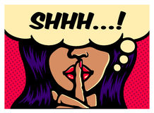 Glamorous woman making silence gesture with finger on lips comic book pop art vector illustration. Shhh! Less talk, more action, glamorous woman making silence Royalty Free Stock Image