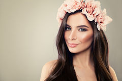 Glamorous Woman. Perfect Floral Hairstyle. And Spring Fashion Makeup. Beauty Portrait Stock Images