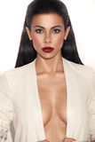 Glamorous Woman With Plunging Neckline Stock Photo