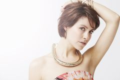 Glamorous woman posing, studio Royalty Free Stock Photos