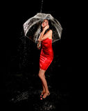 Glamorous Woman in the Rain With Clear Umbrella Royalty Free Stock Photos