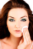 Glamorous woman removing her make up Stock Image