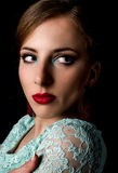 Glamorous Woman Staring to the Right of the Frame Stock Image