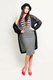 Glamorous Woman in Striped Dress Stock Photos