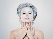 Glamorous Woman with Winter Makeup and Jewelry Royalty Free Stock Image