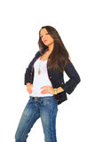 Glamorous young sexy woman wearing blue jeans Stock Images