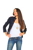 Glamorous young sexy woman wearing blue jeans Royalty Free Stock Photography