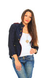 Glamorous young sexy woman wearing blue jeans Stock Photography