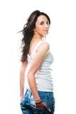 Glamorous young sexy woman on white Stock Photo