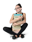 Glamorous young student girl with books Royalty Free Stock Photo