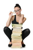 Glamorous young student girl with books Stock Photography