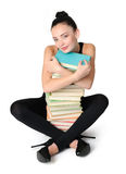 Glamorous young student girl with books Royalty Free Stock Image