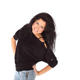 Glamorous young woman in black jacket and jeance on white background Royalty Free Stock Image