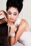 Glamorous Young Woman With Closed Eyes Stock Images