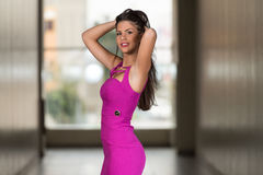 Glamorous Young Woman In Elegant Style Dress Stock Images