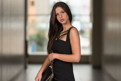 Glamorous Young Woman In Elegant Style Dress Stock Image
