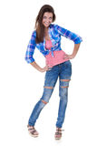 Glamorous Young Woman In Shirt And Jeans Stock Photography