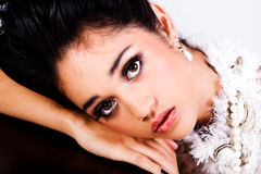Glamorous Young Woman Resting Her Head Royalty Free Stock Photos