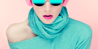 Glamorous young woman in stylish sunglasses Stock Photos