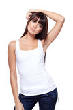 Glamorous young woman. In white shirt on white background Royalty Free Stock Images