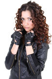 Glamorouse brunette woman in leather jacket Stock Photo