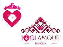 Glamour. Elegant heart and princess crown royalty free illustration