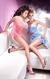 Glamour. Style photo of two attractive girls royalty free stock photography