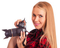 Glamour amateur photographer holding a professional camera - iso Stock Photography