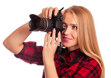Glamour amateur photographer holding a professional camera - iso Royalty Free Stock Photo