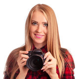 Glamour amateur photographer holding a professional camera - iso Stock Image