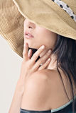Glamour of Asian beauty. With hat, closeup portrait Stock Photos