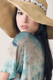 Glamour of Asian beauty. With hat, closeup portrait Stock Image