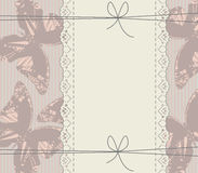 Glamour background with lace frame, butterflies, bows and lines Stock Photo