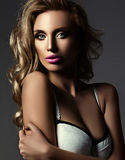 Glamour beautiful blond woman with fresh makeup Royalty Free Stock Image