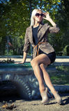 Glamour Beautiful blonde in a jacket Stock Images