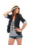 Glamour beautiful brunette woman in stylish Stock Photography