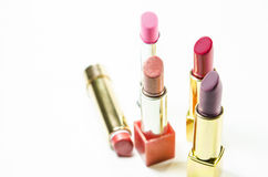 Glamour Beautiful Different Lipsticks Isolated On White Background. Colorful. Stock Photo