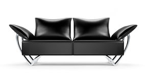 Glamour black leather sofa isolated on white Royalty Free Stock Images
