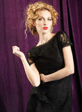 Glamour woman wearing black lace dress Royalty Free Stock Photo