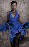 Glamour in blue dress Royalty Free Stock Photo
