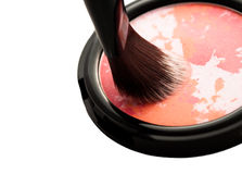 Glamour blush with brush closeup  on white background Royalty Free Stock Image