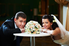 Glamour bride and groom on their wedding day Royalty Free Stock Images