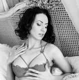 Glamour brunette woman wearing lingerie Royalty Free Stock Photo