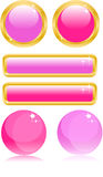 Glamour buttons. Glamour pink buttons with glares Royalty Free Stock Photo
