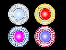 Glamour Buttons with diamonds Stock Images