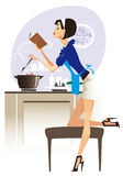 Glamour chef. Housewife cooking dinner, checking for cookbook Stock Photo