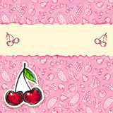 Glamour cherry hand-drawn card Royalty Free Stock Photos