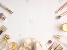 Glamour chic feminine cosmetic background Royalty Free Stock Images