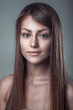 Glamour clean skin portrait of a beautiful smile young girl Royalty Free Stock Image